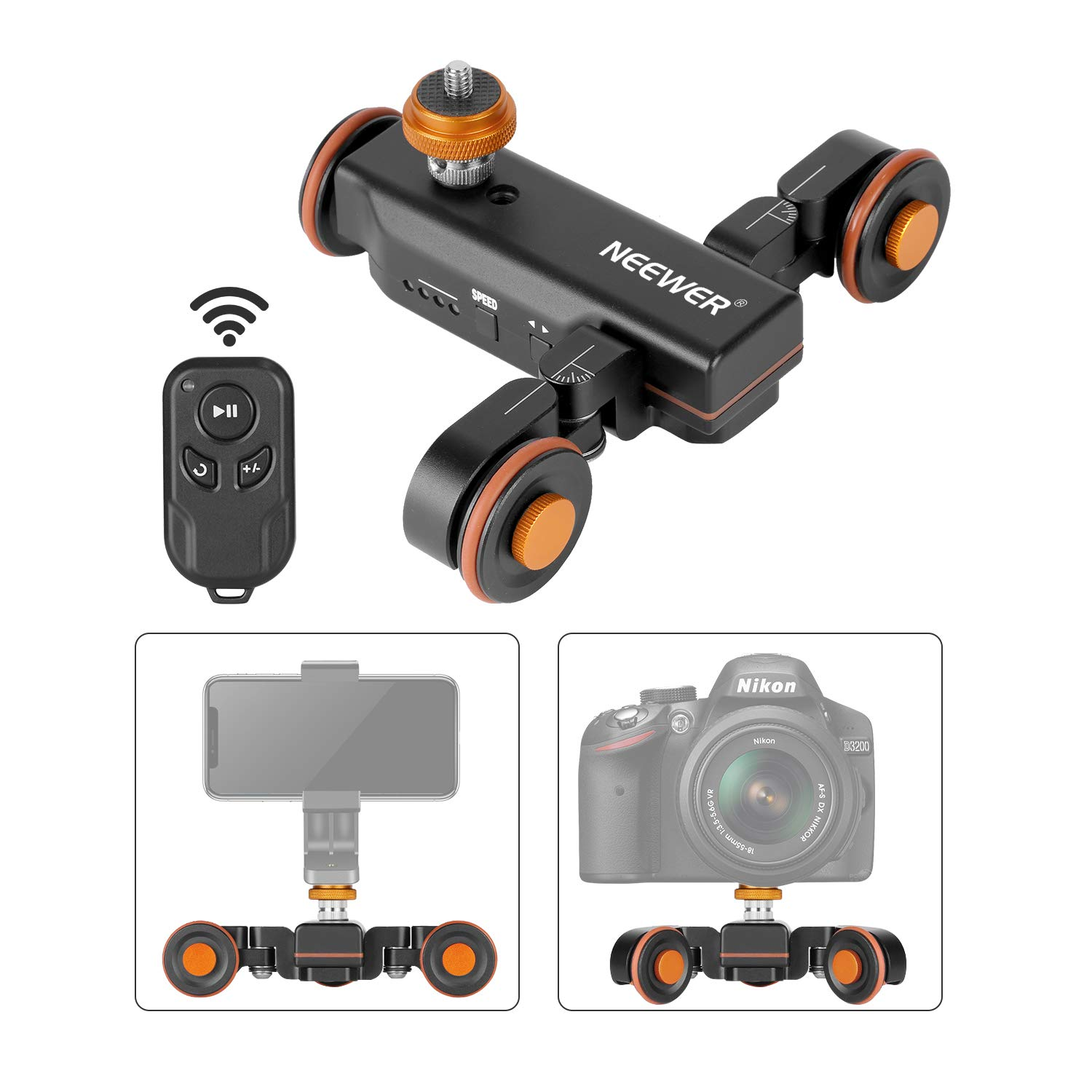 Neewer 3-Wheels Wirelesss Camera Video Auto Dolly,Motorized Electric Track Rail Slider Dolly Car with Remote Control,3 Speed Adjustable for DSLR Camera Camcorder Gopro iPhone and Samsung Phones by Neewer