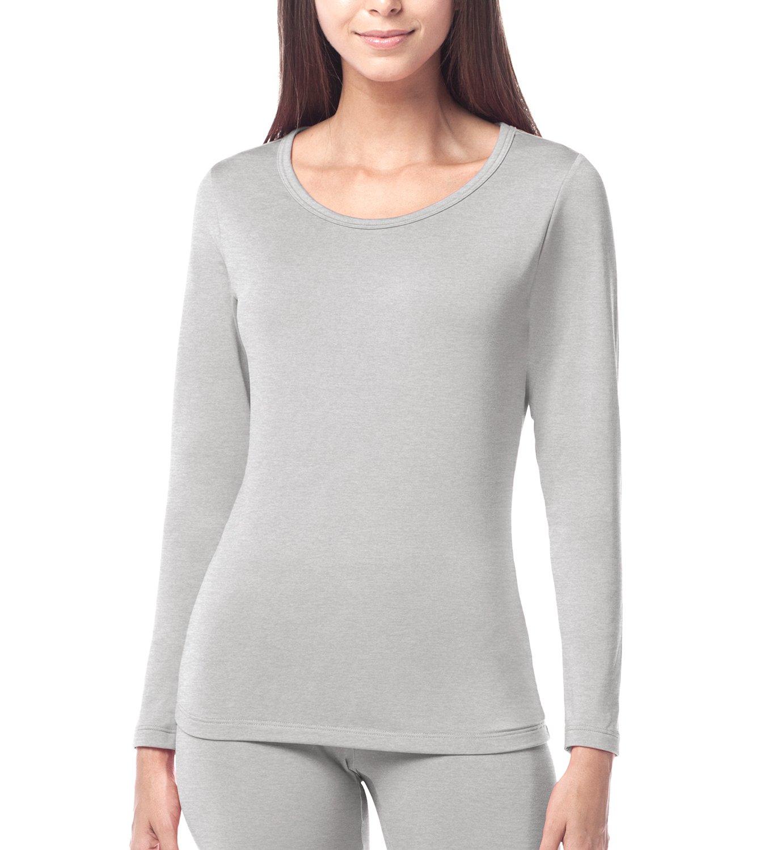 LAPASA Women's Lightweight Thermal Underwear Top Fleece Lined Base Layer Long Sleeve Shirt L15 (Grey, Small)