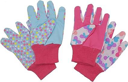 6 anni Guanti da giardinaggio per bambini di et/à 5 7 8 anni farfalle e coccinelle 2 paia di guanti da giardino in cotone per ragazzi con motivo a pois