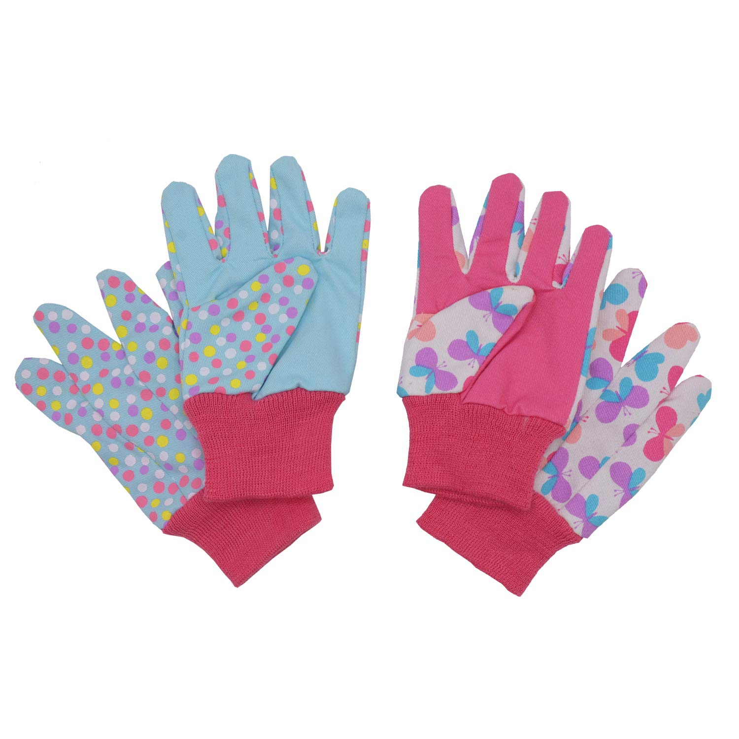 Kids Gardening gloves for age 5-6, age 7-8, 2 Pairs Cotton Garden Working Gloves for girls boys, Dot & Butterfly & Ladybird Print (Medium (age 7-8), Pink (butterfly + dot))