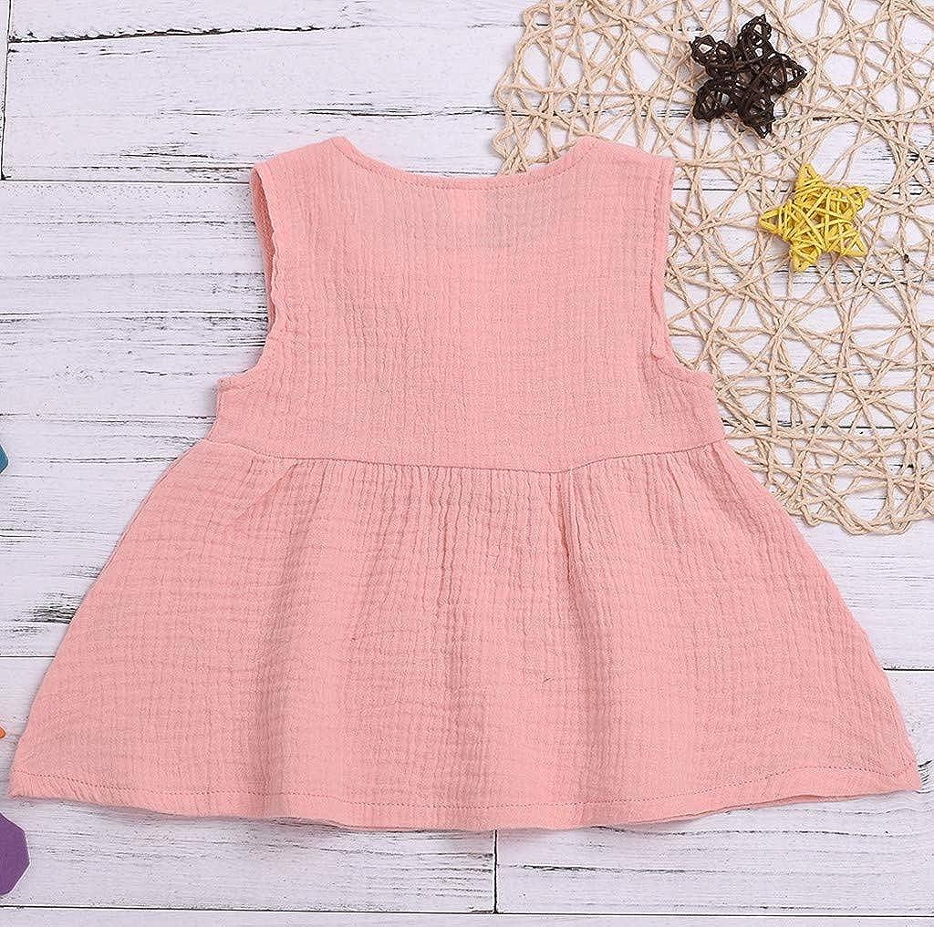 KIMODO Kleinkind Baby M/ädchen Kleid Einfarbig /Ärmellos Kleider Freizeit Urlaub Prinzessin Sommerkleid Outfit Kleidung