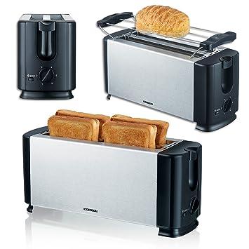 Edelstahl Toaster 4 Scheiben Langschlitz Toastautomat Sandwichtoaster Röster Neu