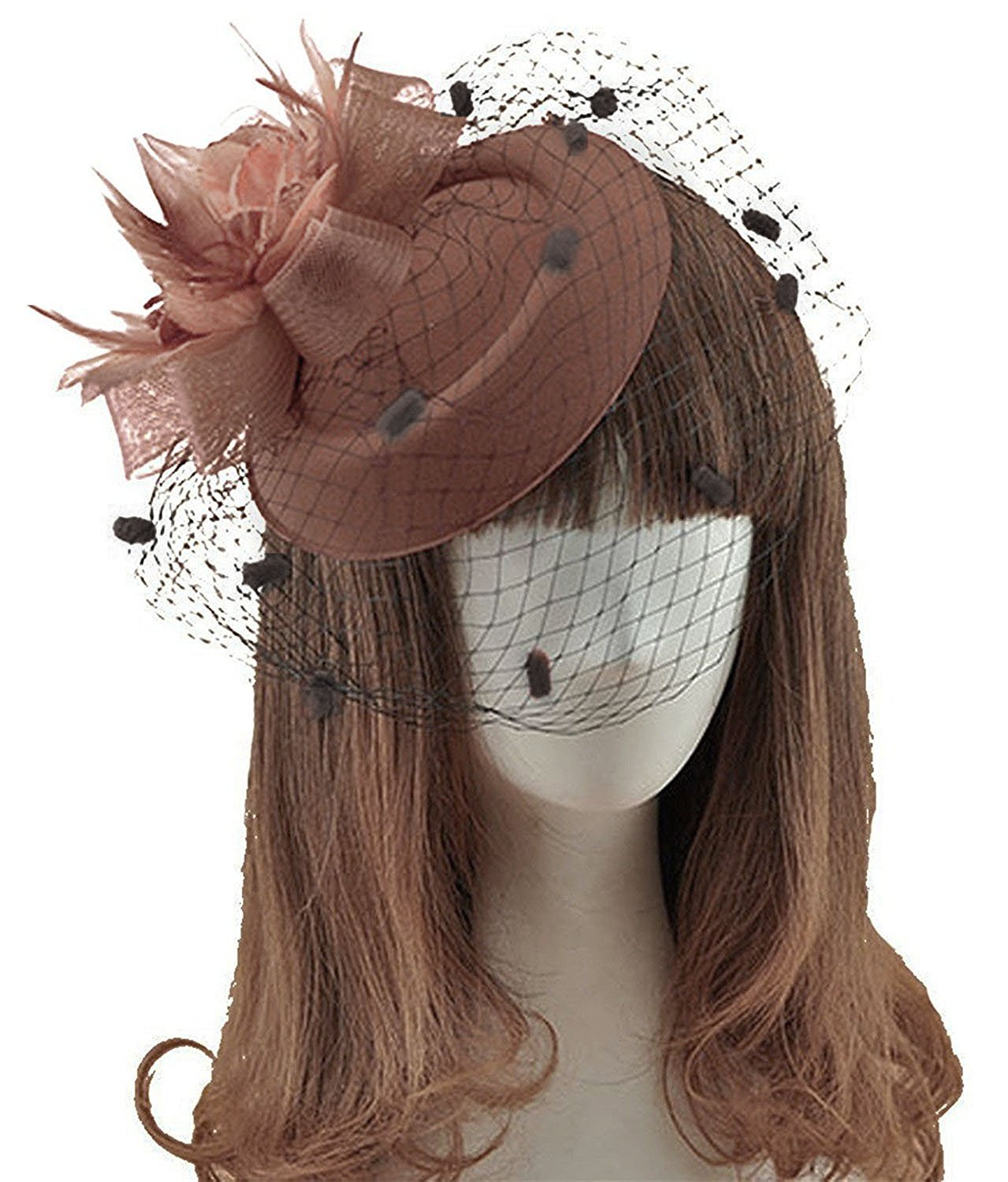 Ahugehome Fascinator Hair Clip Headband Pillbox Hat Flower Weeding Cocktail Tea Party (A Brown Taupe)