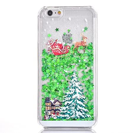 Christmas Phone Case.Honghushop Christmas Phone Case For Iphone 6s Iphone 6 Hard Pc Rigid Back Case Sparkly Green Glitter Shine Back Cover Santa Christmas Tree Pattern
