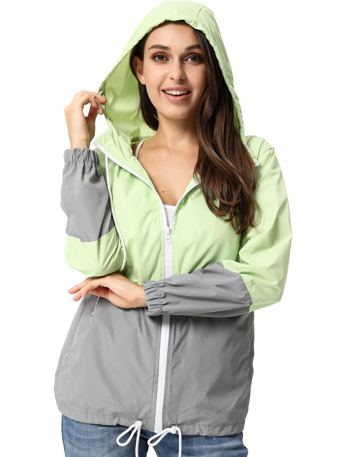 JACK SMITH Womens Cycling Jackets Lightweight Hoody(XL,Fluorescein+Gray 005)