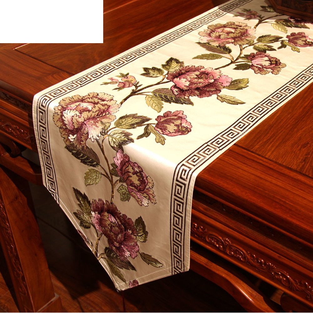 Modern Red Solid Wood Table Flag,Coffee Table Cabinet Flag,Insulation Anti-skid Embroidery-A 30x200cm(12x79inch)