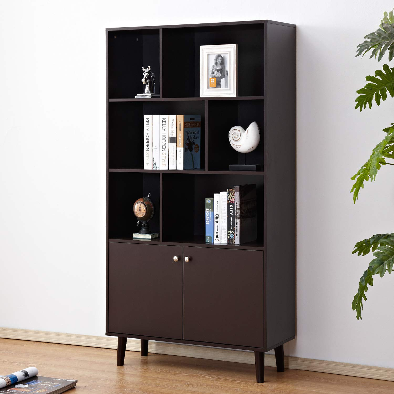 Soges Premuim Modern Display Storage Cabinet 67.4 inches High Free Standing Bookshelf Wood Home Office Cabinet, Espresso HHGZ006-CF by soges