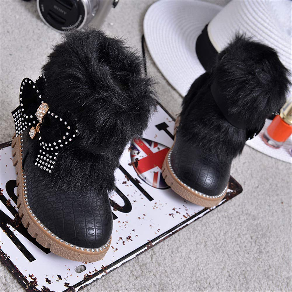 COLOV Girls Cute Flat Shoes Winter Warm Snow Boots