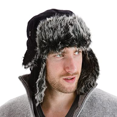 959f47d4d8d Men's Black Extra Warm Trapper Hat With Faux Fur Lining Ear Flaps And Chin  Strap