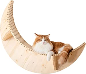 MYZOO Luna: Wall Mounted Cat Bed, Wooden Cat Furniture, Floating Cat Perch, Cat Tree, Cat Shelves