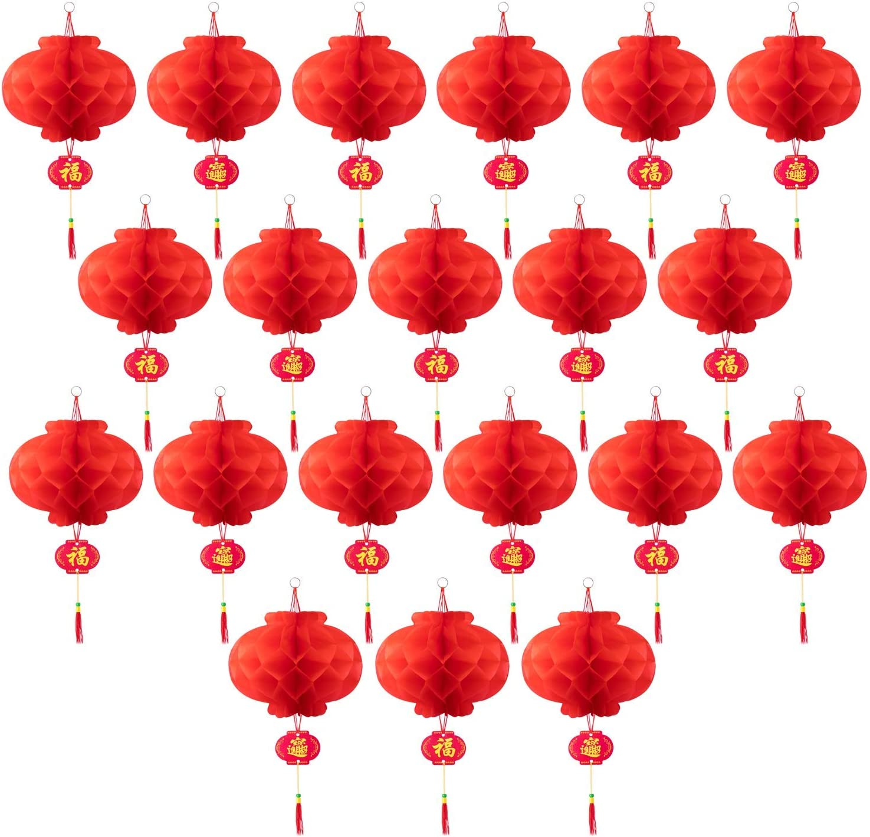 ASIAN HOME Red Paper Lantern Hanging Lanterns for Chinese Spring Festival, Wedding, Celebration, Lantern Festival Festive Decoration (12 INCH) (20 Piece)
