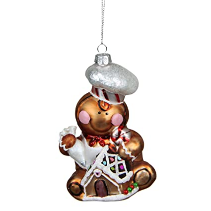 "Northlight Gingerbread Kisses Glass Chef Decorative Christmas Ornament,  4.75"" - Amazon.com: Northlight Gingerbread Kisses Glass Chef Decorative"