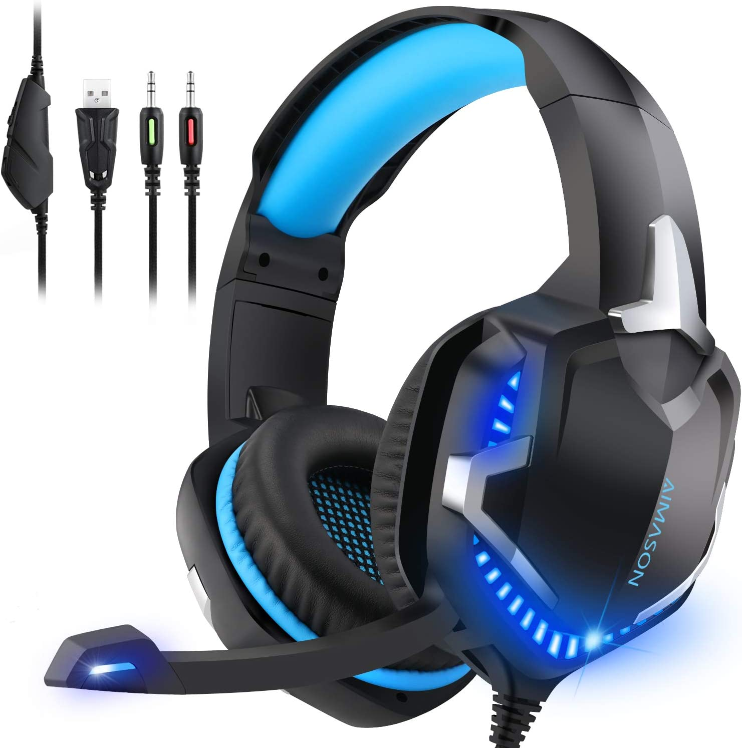 PS4 Gaming Headset with Mic, AIMASON Stereo Headphone for Games/Xbox One S/Nintendo Switch/PC/Mac/Laptop, Over Ear Headset with Surround Sound, LED Light & Noise Canceling Microphone