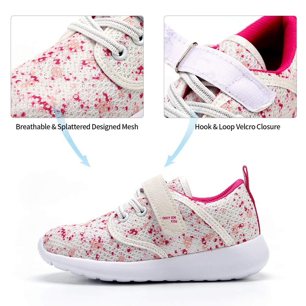 EIGHT KM Girls Toddler Kids EKM7025 Lightweight Breathable Splattered Pink Fabric Velcro Sneakers School Shoes Size 10.5 US 2019 Thanksgiving