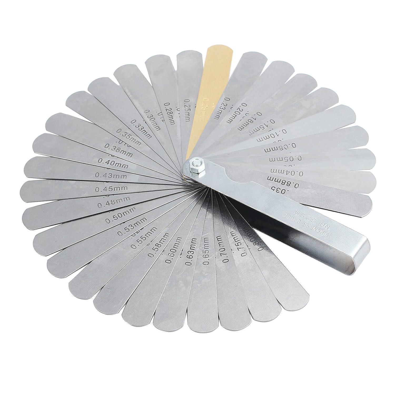 LiNKFOR Galgas Espesores 32 Hojas Calibre Grosor Plegable Juego de Galgas Metricas y Imperiales Calibrador de Lamina en Acero 0.04-0.88mm/0.0015-0.035pulgadas para Bují as Vá lvulas XUNTL335