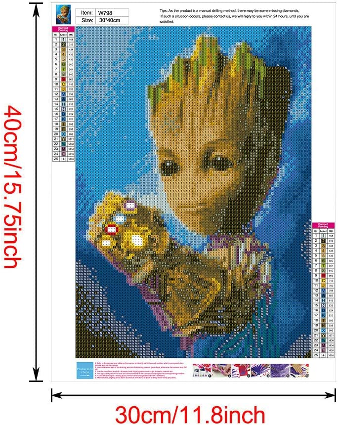 Full Round Drill Rhinestone Painting by Number Kits The Theme of Baby Groot with Infinity Gauntlet 12 x 16 inch Betionol DIY 5D Diamond Painting Kits for Kids /& Adults