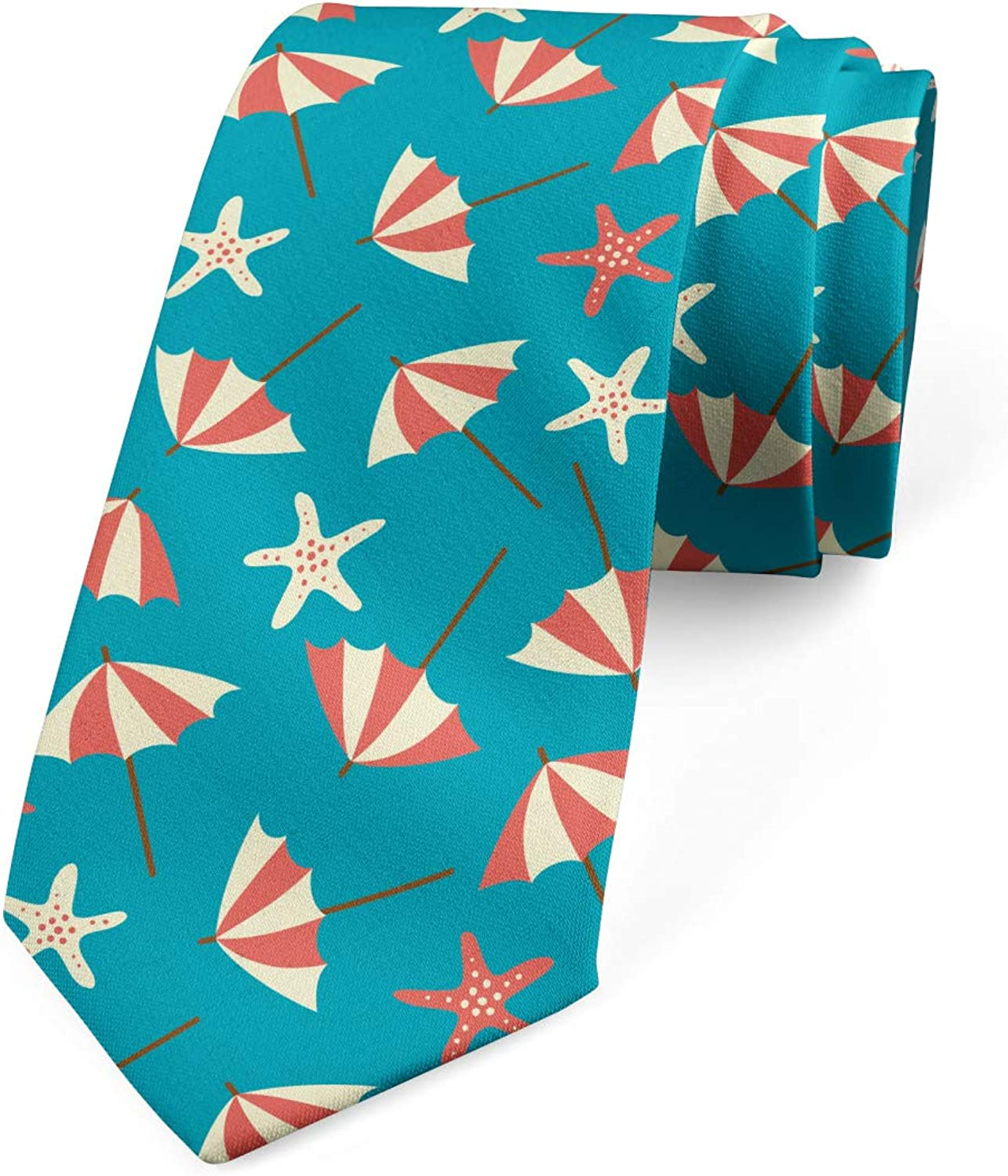 Holiday Beach with Umbrellas Petrol Blue Coral Cream Ambesonne Necktie 3.7