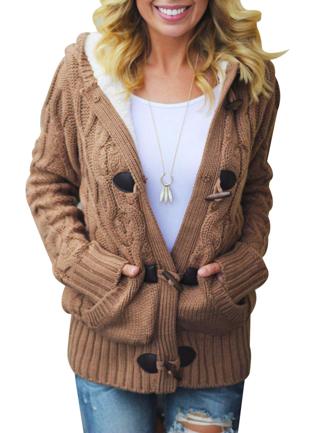 Sidefeel Women Button Up Cardigan Knit Hooded Cable Sweater Coat Outwear HX27967