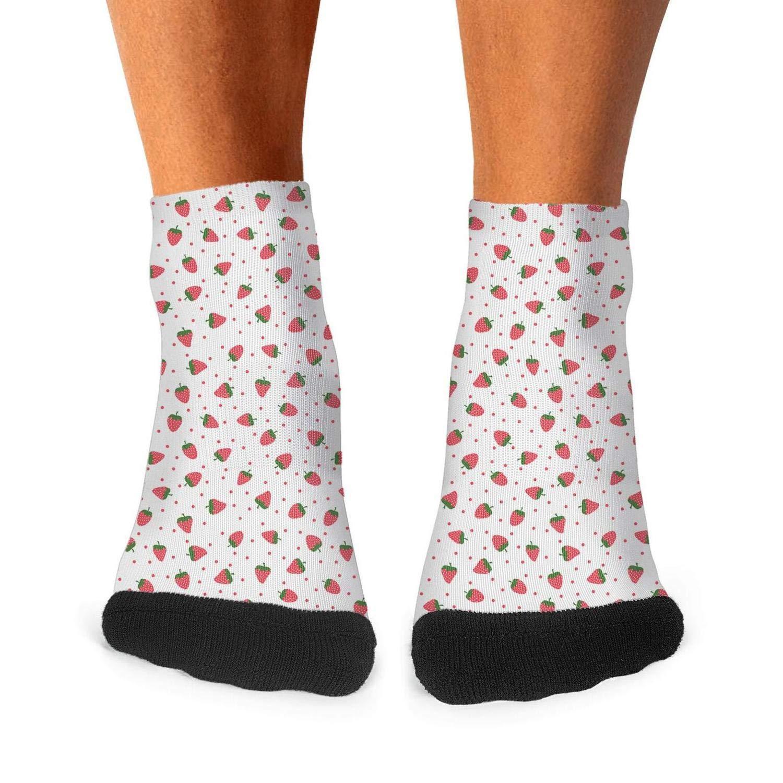 Floowyerion Mens Strawberry Plants Fruit White Novelty Sports Socks Crazy Funny Crew Tube Socks