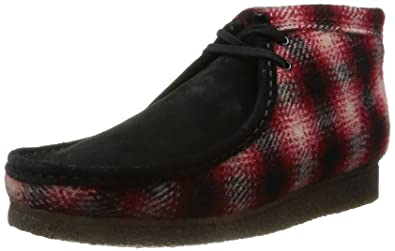 7b65f0fc796 Clarks Mens Originals Wallabee Boot Textile Boots In Red Standard ...