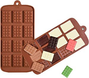 2Pcs Break-Apart Chocolate Molds, Thin Mini Chocolate Tray for Chocolate, Candy, Fondant or Jelly Food Grade Non-Stick Silicone Protein and Energy Bar Molds