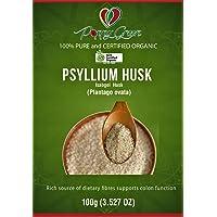 Psyllium Husk- Natural Non-GMO Seed Husk Powder (Plantago ovata) Organic Certified Isabgol Husk 100g
