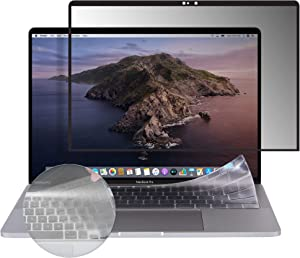 Arxon 16 Inch MacBook Pro Privacy Filter Screen Protector, Anti-Glare, Ultra Clear, Removable, Washable, Silicone Screen Protector with Free TPU Keyboard Cover & Cleaning Cloth