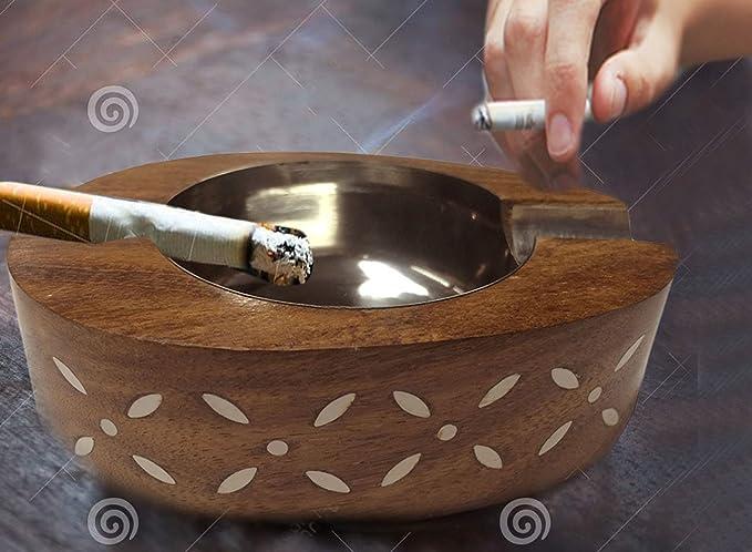Madera de Shisham de forma oval D/ía de Pascua // D/ía de la madre // Regalo de Viernes Santo Cenicero de madera 2 Porta-cigarrillos Cenicero de incrustaciones blancas Cenicero de titular de cigarro Cenicero de interior y exterior