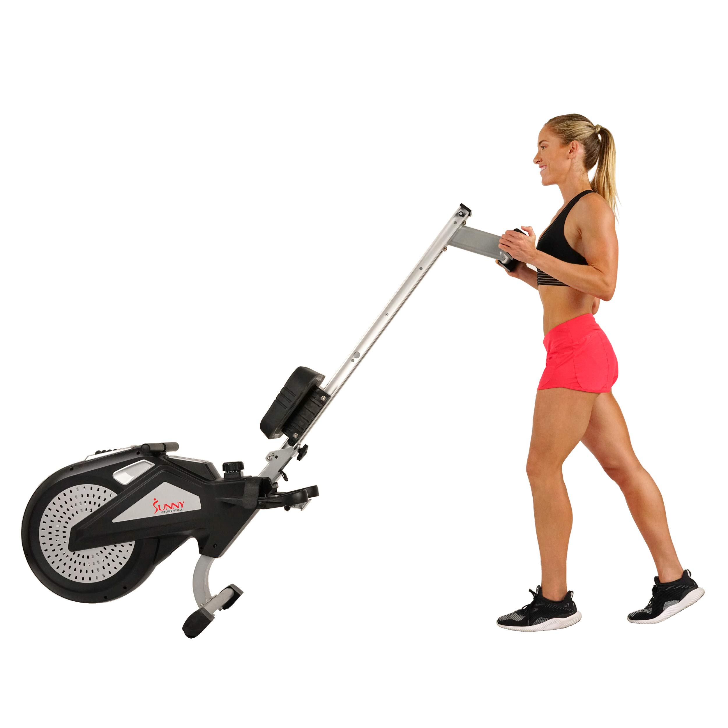 Sunny Health & Fitness Air Rower Rowing Machine w/ LCD Monitor, Dual Belt and Air Resistance SF-RW5623 by Sunny Health & Fitness (Image #9)