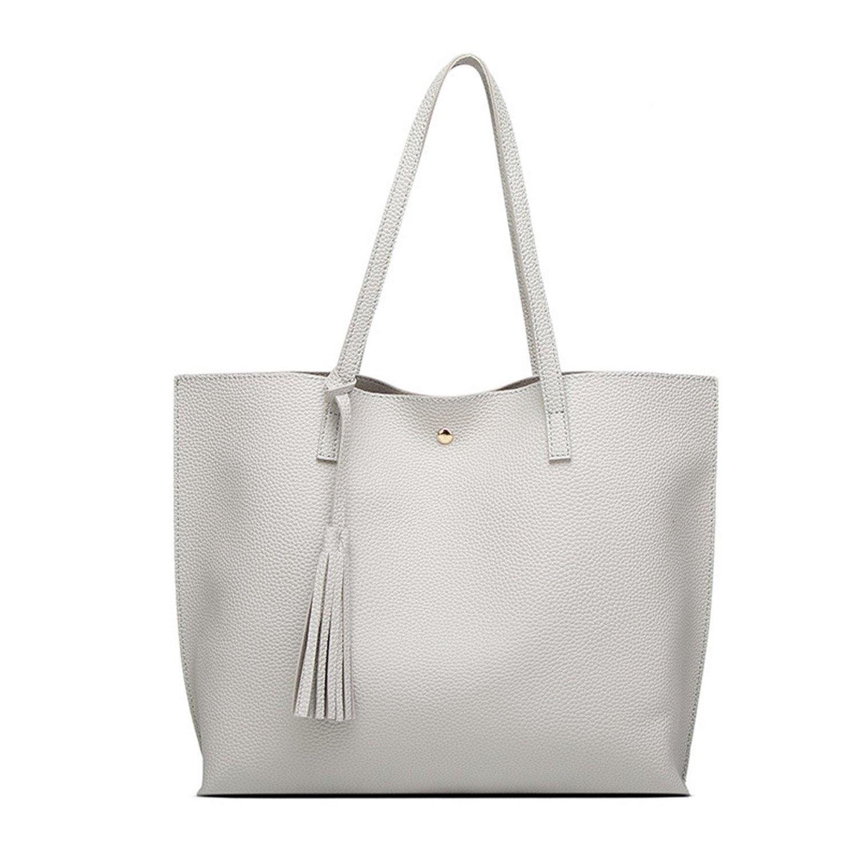 4feb328a14d6 Amazon.com  Acereima luxury leather handbags women bags designer for 2018  famous brands tote shoulder bags bolsa feminina sac a main mujer Light Gray  Women ...