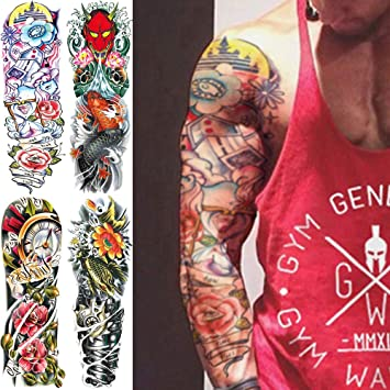 2ccc0f144 Image Unavailable. Image not available for. Color: Oottati 4 Sheets Full  Arm Leg Extra Large Temporary Tattoos ...