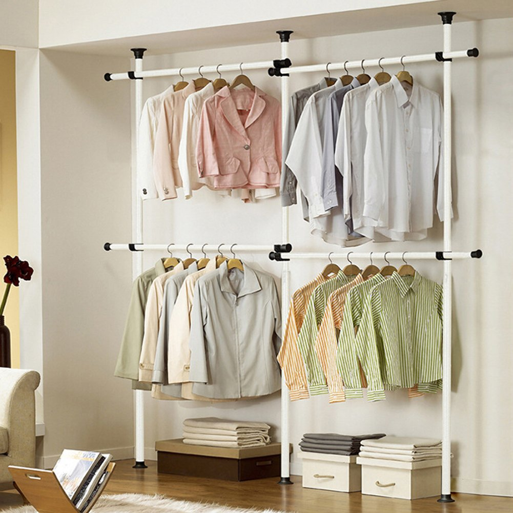 Adjustable Hanger Clothing Rack, Aiernuo Clothes/Garment Racks 2-Tier Steel Pipe Coat Hangers Heavy-Duty Ivory