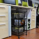 YIMU 3 Tier Metal Mesh Rolling Cart with 3 Drawers, Office& Kitchen Storage with Rolling Wheels, Black, L14 W13 H27 Inches
