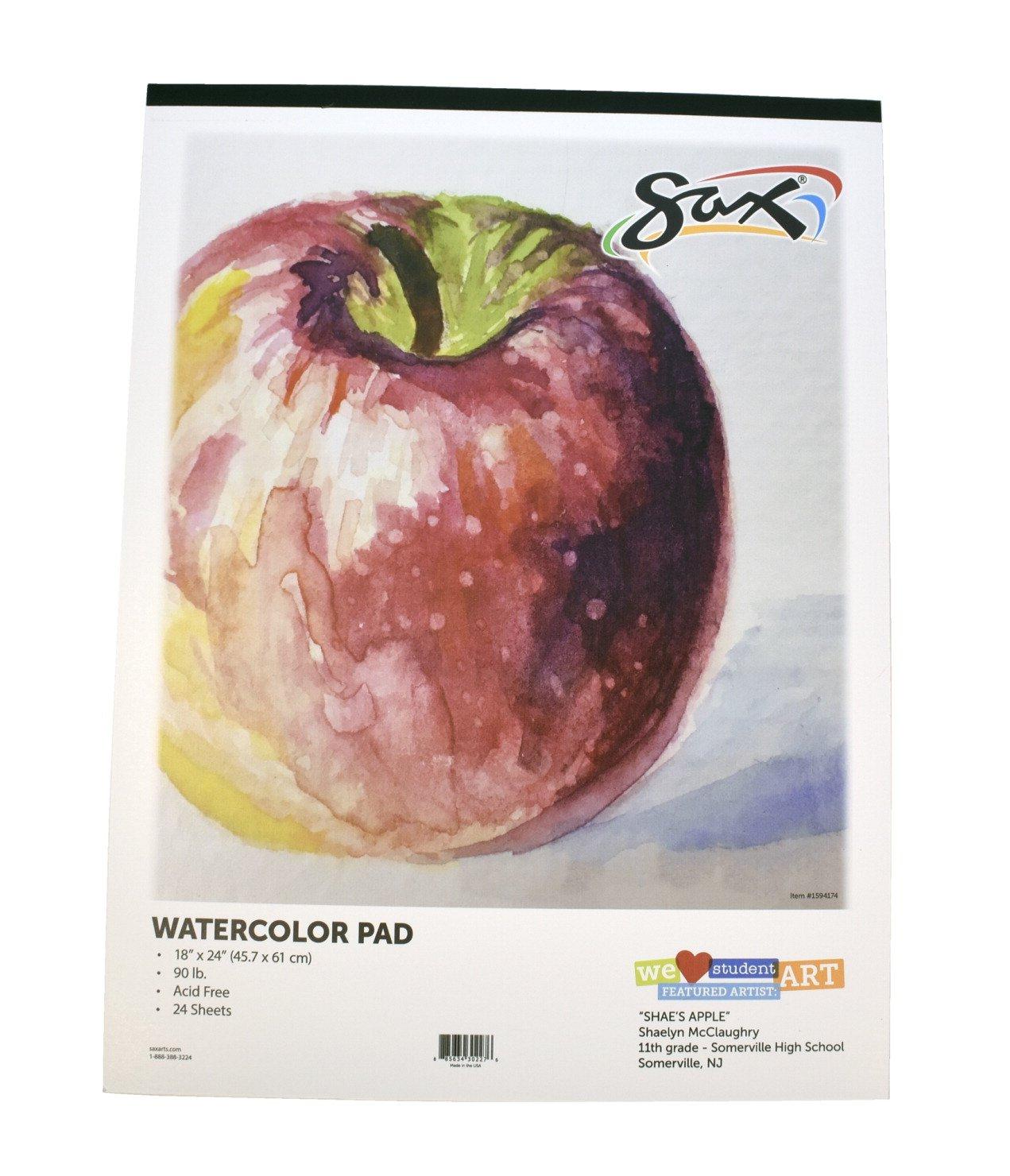 White 18 x 24 Inches 24 Sheets 90 lb Sax Watercolor Pad