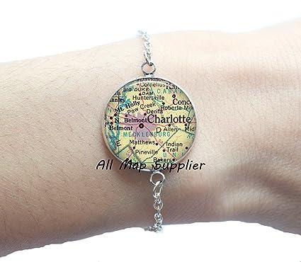 Amazon.com: Charming Bracelet Charlotte, North Carolina map ...