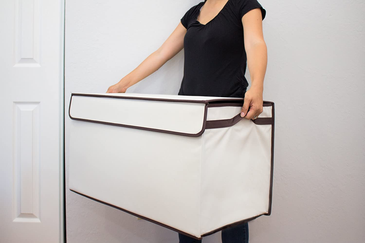 Extra Tough 600 Denier Collapsible with Flip-Top Lid Bigger Large Gray and White Sturdier Toy Chest Great Useful Stuff