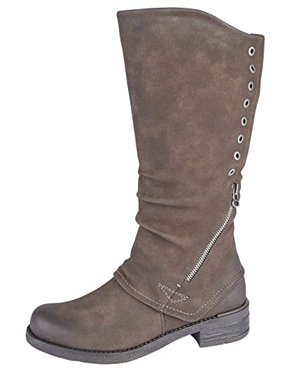 1a1ecfb2407 Cipriata Womens Ladies Leather Look High Leg Knee Length Winter Boots Grey  Brown  Amazon.co.uk  Shoes   Bags