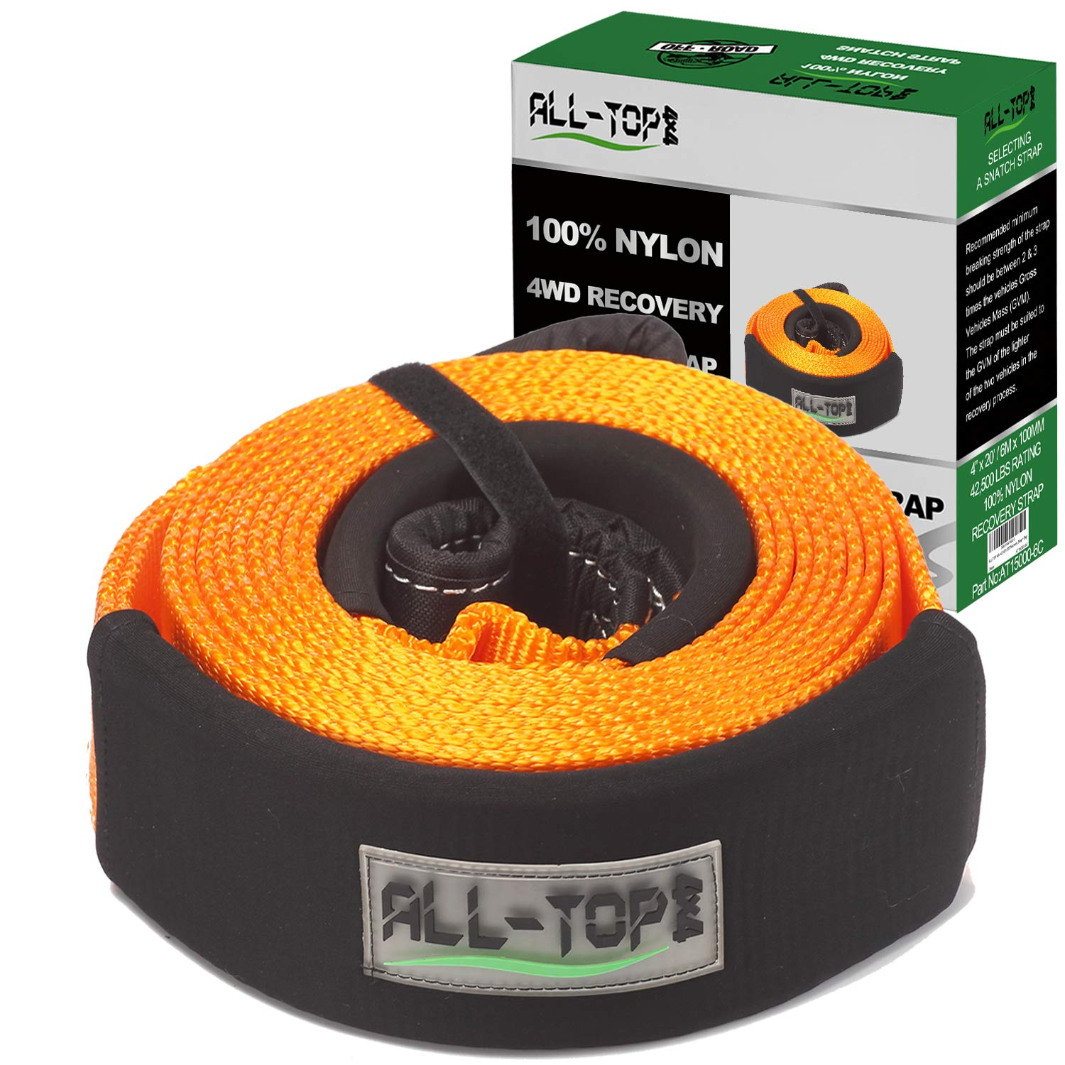 ALL-TOP Extreme Duty Nylon Recovery Strap - 4'' x 20' - Towing Snatch Strap (42,500 lbs) 100% Nylon and 22% Elongation by ALL-TOP