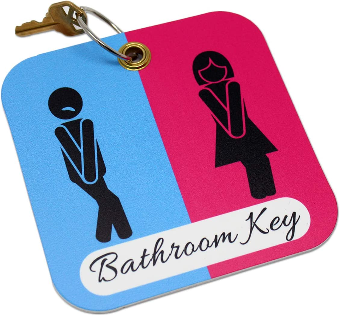 Funny Bathroom Pass   Unisex Office Restroom Key Tag Holder with Keychain Ring for School, Office, and More