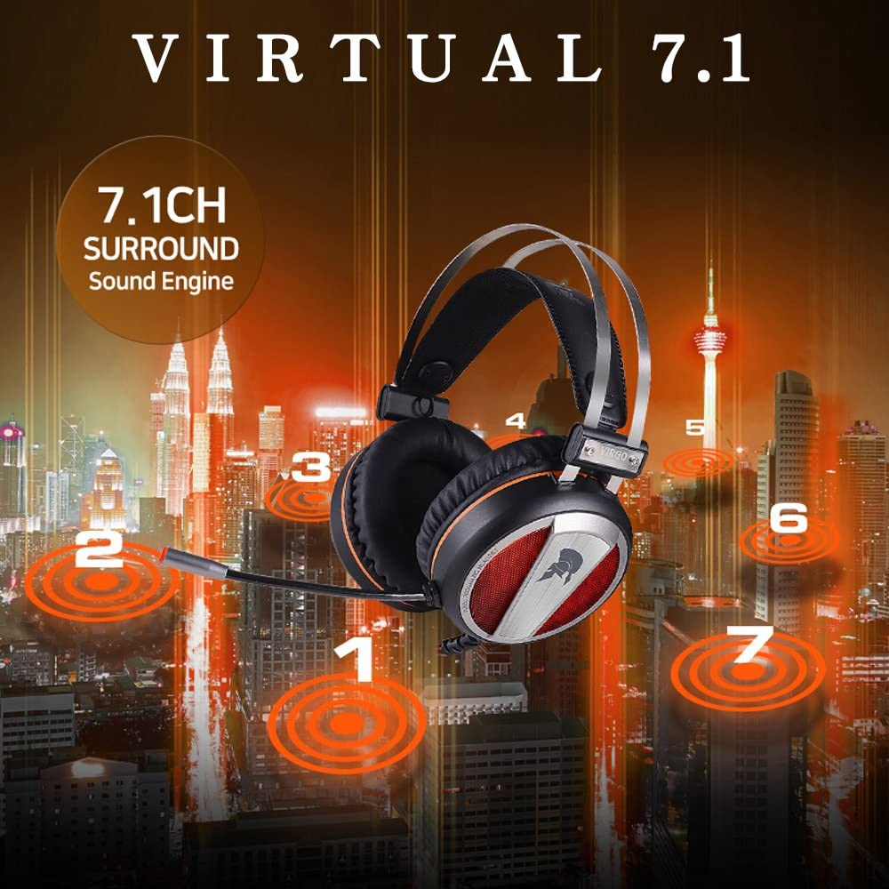 WeIM 2019 Gaming Headset Virgo M58 7.1 Surround Sound for PC, Intelligent Vibration, 50mm Driver, Strong Bass, Flexible Sensitive Mic, LED Illumination, USB Connector, Compatible with PS4