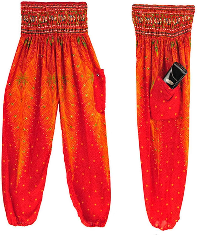Thenxin Bohemian Hippie Pants Loose Harem Yoga Trousers Beam Foot Dance Outfit Peacock Design