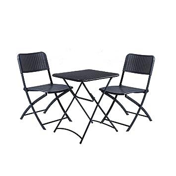 DOMI Set de 3 piezas de silla y mesa rattan,efecto de mimbre para uso al aire libre e interior.