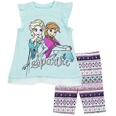 b2b4c25b41a43 Amazon.com: Disney Frozen Little Girls' 2 Piece Bike Shorts Set ...