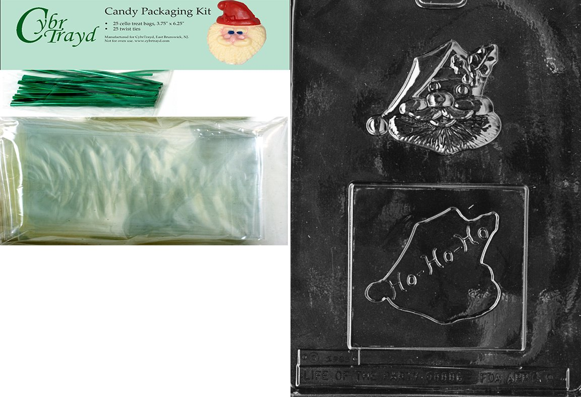 Cybrtrayd MdK25G-C089 Ho-Ho Santa Christmas Chocolate Mold with Packaging Kit Includes 25 Cello Bags and 25 Green Twist Ties