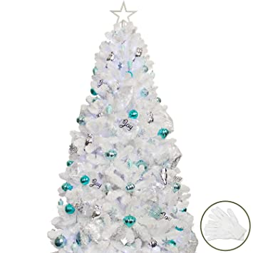 new style d538a 24e9a KI Store 7ft Artificial Christmas Tree with Decoration Ornaments White  Christmas Decorations Including 7 Feet Full Tree, 135pcs Ornaments, 2 pcs  59ft ...