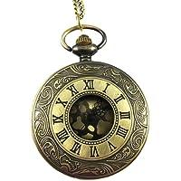 YouYouPifa Los depósitos manera unisex de bronce Marcado cuarzo reloj de bolsillo del número romano Esqueleto con Cadena
