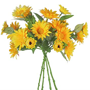 Amazon party joy artificial silk sunflower bouquet5 flowers party joy artificial silk sunflower bouquet5 flowers per bunch yellow flowers for wedding mightylinksfo