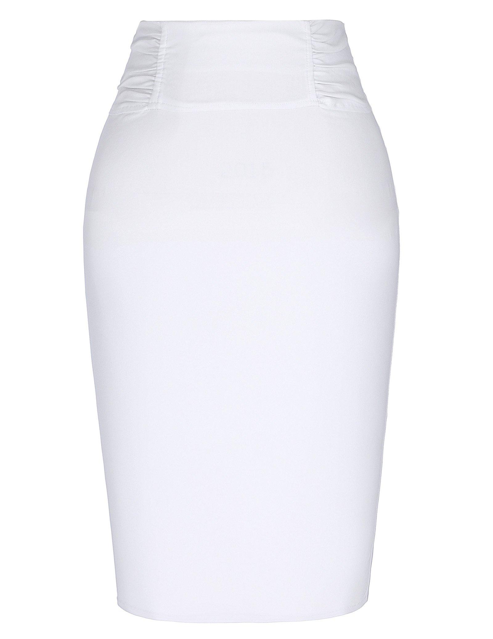 Kate Kasin Casual High Elastic Elegant Women Pencil Skirt White XL KK268-2