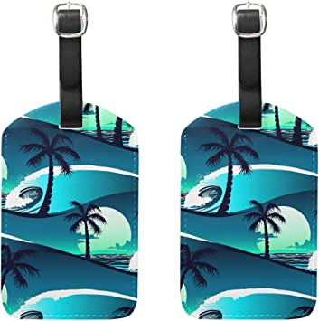 Ocean Blue Large Wave Beach Luggage Tag Label Travel Bag Label With Privacy Cover Luggage Tag Leather Personalized Suitcase Tag Travel Accessories