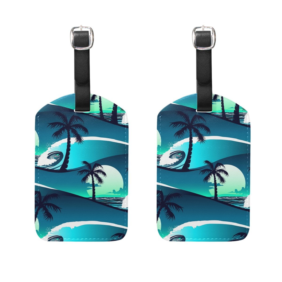 Set of 2 Luggage Tags Tropical Palm Tree Wave Suitcase Labels Travel Accessories